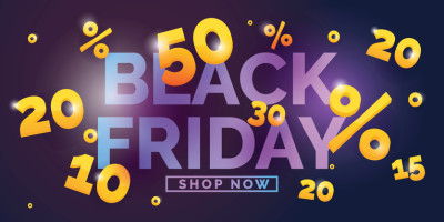 Black friday sale banner. Original poster for discount. Bright abstract background with text. Vector illustration.